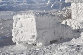 foto of adversity humor  - Car covered with snow and ice at winter - JPG