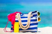 stock photo of beach hat  - Blue bag - JPG