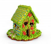 stock photo of gingerbread house  - Gingerbread house isolated on white background - JPG