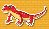 picture of lizards  - Red lizard on yellow background - JPG