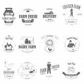 pic of hand truck  - Farm Fresh Products Badge Set Vector Illustration - JPG