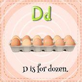 stock photo of letter d  - Flashcard letter D is for dozen - JPG