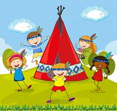 stock photo of indian  - Children playing indians around red teepee - JPG