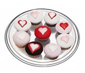picture of icing  - mixture of cupcakes with heart icing isolated on white isolated on a white background - JPG