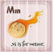 stock photo of meteors  - Flashcard alphabet M is for meteor - JPG