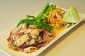 stock photo of glass noodles  - Thai style spicy seafood salad with glass noodle side with fresh vegetable - JPG