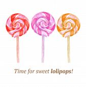 image of lollipop  - Watercolor tasty lollipop in vintage style vector - JPG