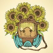 stock photo of respiratory  - Sketch respiratory mask with sunflower in vintage style vector - JPG
