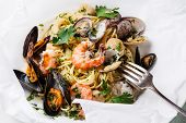 picture of clam  - Seafood pasta  - JPG