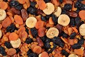pic of dry fruit  - Top view of assorted dried fruits as background texture - JPG