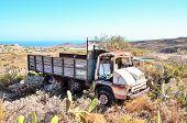 foto of truck farm  - Rusty Abandoned Truck on the Desert - JPG