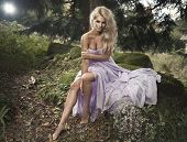 pic of natural blonde  - Cute blonde sexy woman in nature scenery - JPG