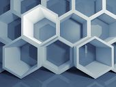 pic of honeycomb  - Abstract blue 3d honeycomb digital structure illustration - JPG
