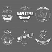 image of dairy barn  - Farm Fresh Products Badge Set Vector Illustration - JPG