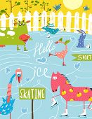picture of baby goose  - Countryside amusing skating baby animals illustration for children - JPG