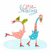 stock photo of baby goose  - Countryside amusing skating baby animal illustration for children - JPG