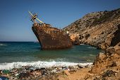 pic of shipwreck  - Scenic image of shipwreck Amorgos Cyclades Greece - JPG