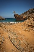stock photo of shipwreck  - Scenic image of shipwreck Amorgos Cyclades Greece - JPG