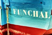 pic of old boat  - Closeup of old fishing boat in Funchal Madeira island - JPG