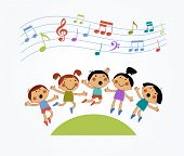 image of jumping  -  Cartoon children jumping and musical notes - JPG