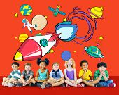 stock photo of outerspace  - Rocket Launch Space Outerspace Planets Concept - JPG