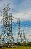 stock photo of utility pole  - wire of electricity high voltage pole and sky - JPG
