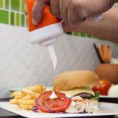 foto of hamburger  - Chef decorated Hamburger French Freid and vegetable salad  - JPG