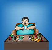 pic of obese  - Obese Man drinking too many canned drinks and junk food while using mobile phones and tablets with a sedentary lifestyle - JPG