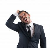 picture of scream  - Crazy businessman stressed out from work screams - JPG