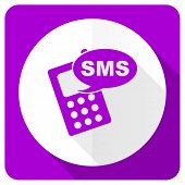image of sms  - sms pink flat icon phone sign  - JPG
