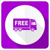 pic of free-trade  - free delivery pink flat icon transport sign  - JPG