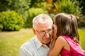 picture of grandfather  - Little girl whispering her grandfather a secret to ear  - JPG