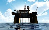 image of  rig  - A regular view of an oil rig out at sea on a blue cloudy sky background - JPG