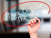 picture of thinking outside box  - Man Hand writing Think Outside The Box with marker on transparent wipe board - JPG