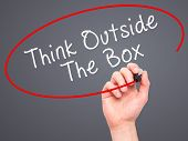 foto of thinking outside box  - Man Hand writing Think Outside The Box with marker on transparent wipe board - JPG