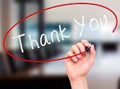 stock photo of thankful  - Man Hand writing Thank You with marker on transparent wipe board - JPG