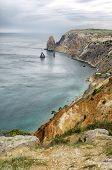 image of crimea  - Sea landscape with rocks recorded in place Fiolent in region Crimea on Black sea - JPG