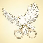 picture of handcuff  - Sketch dove with handcuffs in vintage style vector - JPG