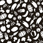 foto of vegetable food fruit  - Vector Black and Wihte Background with Healthy Food Vegetables and fruits Eco Food silhouette - JPG