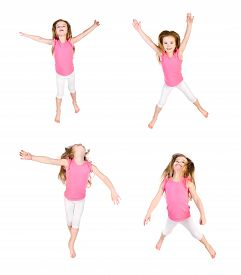 pic of little girls photo-models  - Collection of photos cute little girl jumping in air isolated over white background  - JPG