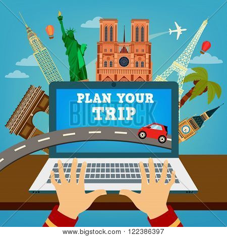 poster of Plan your Trip. Travel Banner. Time to Travel. Vacation Planning. Travel Industry. Modern Travel Technologies. Booking Hotel. Vector illustration