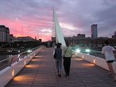 stock photo of calatrava  - puente de las mujeres the bridge of women at sunset in buenos aires argentina - JPG