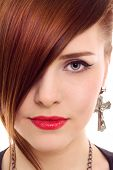 stock photo of asymmetrical  - beautiful red hair woman close up style portrait - JPG