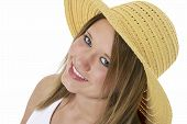 Beautiful Smiling Teen In Yellow Hat Over White poster