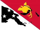 picture of papua new guinea  - map of Papua New Guinea and Papau New Guinean flag illustration JPG - JPG