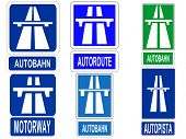 German Swiss Austrian Autobahn, French Autoroute, Spanish Autopista and British motorway sign JPG
