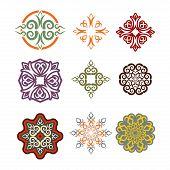 Постер, плакат: Kazakh Ornament Set Of Elements Ethnic Pattern Kazakhstan National Style Ornament Traditional Ele