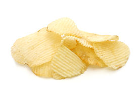 stock photo of potato chips  - pile of potato chips in isolated white background - JPG