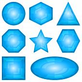 image of octahedron  - Set blue vector eps10 icons - JPG