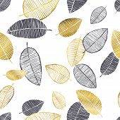 Vector Seamless Pattern With Hand Drawn Golden, Black, White Watercolor And Ink Leaves. Trendy Scand poster